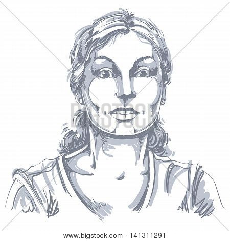Vector portrait of scared woman illustration of amazed or frightened female.
