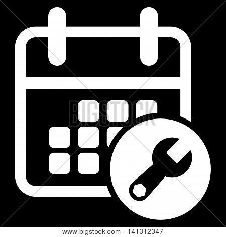 Binder Tools vector icon. Style is flat symbol, white color, rounded angles, black background.