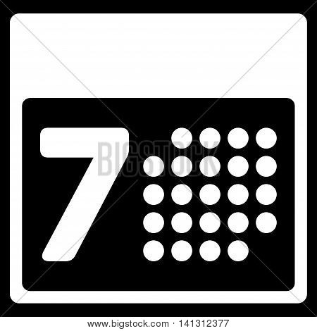 Organizer Week vector icon. Style is flat symbol, white color, rounded angles, black background.