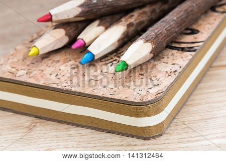natural wooden pencils and cork workbook from recycled paper