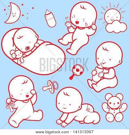Vector Illustration icons of  a baby's daily routine: babies sleeping, playing, crying, drinking milk, crawling.