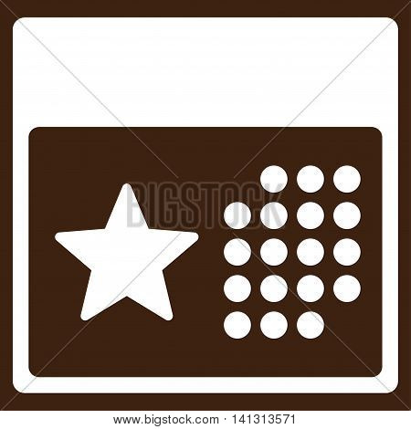 Holiday Organizer vector icon. Style is flat symbol, white color, rounded angles, brown background.