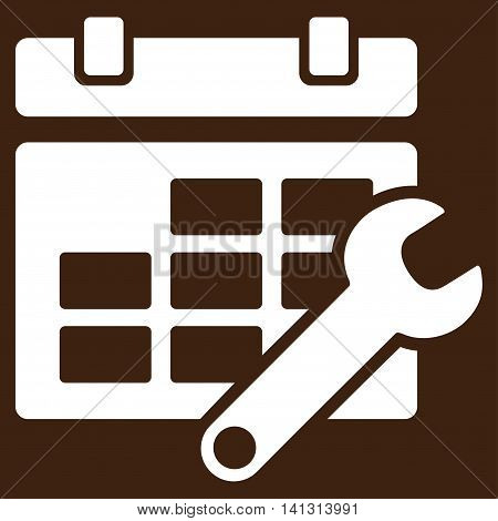 Timetable Configuration vector icon. Style is flat symbol, white color, rounded angles, brown background.