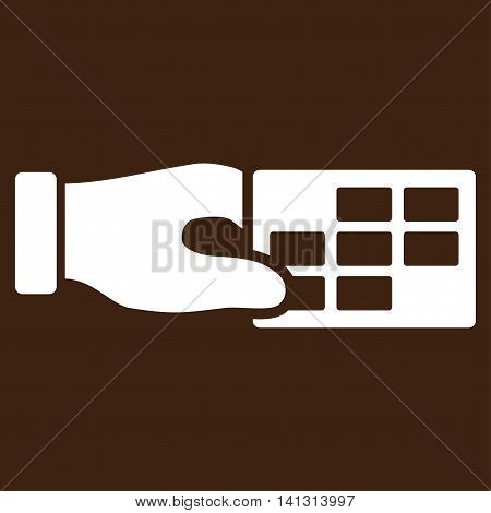Timetable Properties vector icon. Style is flat symbol, white color, rounded angles, brown background.