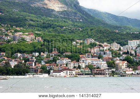 A view of the outskirts of Herceg Novi in summer