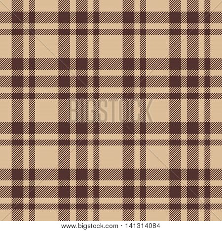 Beige brown check plaid seamless fabric texture. Vector illustration. EPS10.