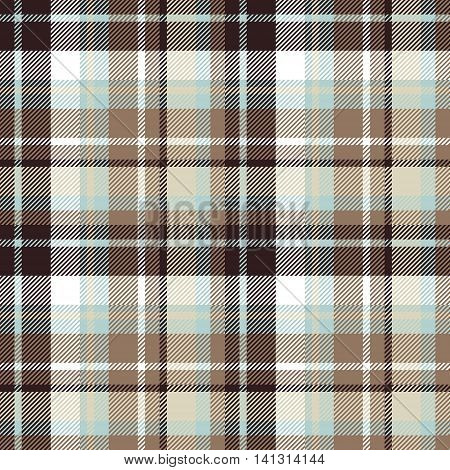 Brown blue seamless check fabric texture. Vector illustration.