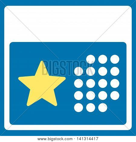 Holiday Organizer vector icon. Style is bicolor flat symbol, yellow and white colors, rounded angles, blue background.