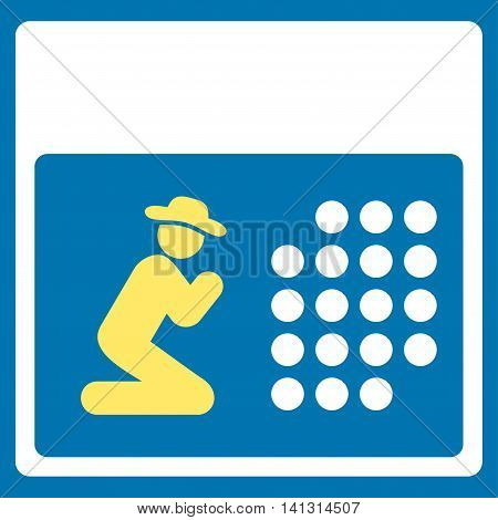 Pray Organizer vector icon. Style is bicolor flat symbol, yellow and white colors, rounded angles, blue background.