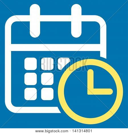 Timetable vector icon. Style is bicolor flat symbol, yellow and white colors, rounded angles, blue background.