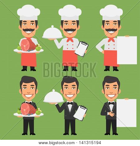 Vector Illustration, Chef and Waiter Holding Meat Tray Paper, Format EPS 8