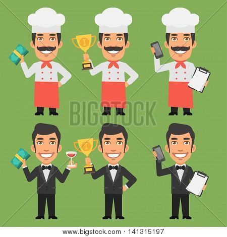 Vector Illustration, Chef and Waiter Holding Money Cup Phone, Format EPS 8