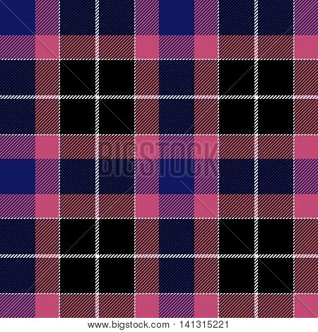 Pink blue check plaid seamless fabric texture. Vector illustration. EPS10.