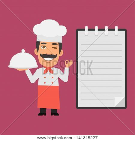 Vector Illustration, Chef Holding Tray of Food, Format EPS 8