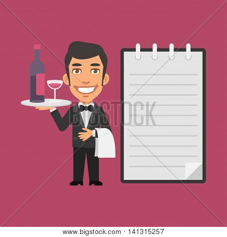 Vector Illustration, Waiter Holding Tray with Alcoholic Beverages, Format EPS 8