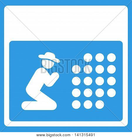Pray Syllabus vector icon. Style is flat symbol, white color, rounded angles, blue background.