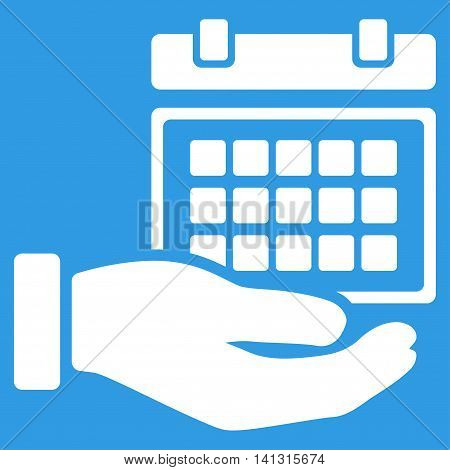 Service Timetable vector icon. Style is flat symbol, white color, rounded angles, blue background.