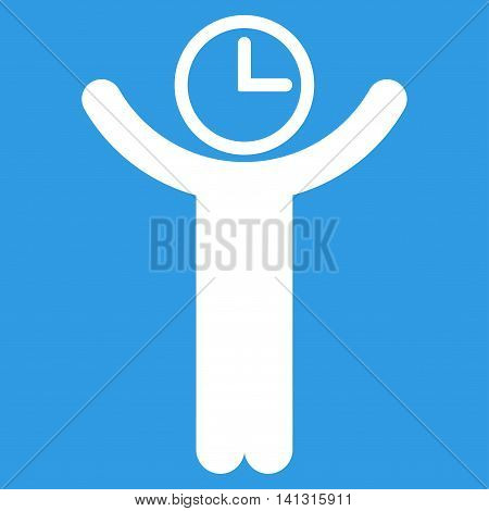 Time Manager vector icon. Style is flat symbol, white color, rounded angles, blue background.