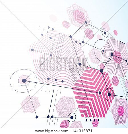 Bauhaus art dimensional composition perspective magenta modular vector backdrop with honeycombs. Retro style pattern graphic backdrop for use as booklet cover template.