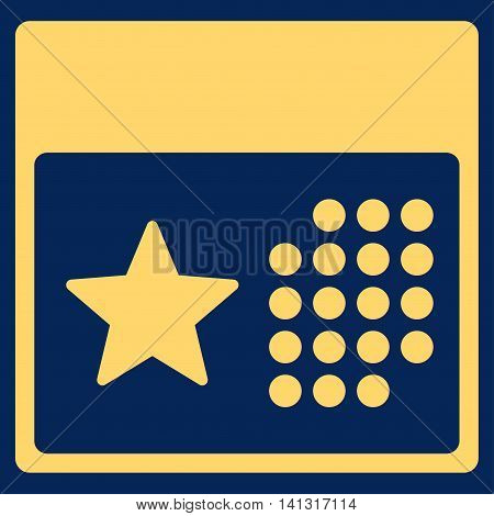 Holiday Syllabus vector icon. Style is flat symbol, yellow color, rounded angles, blue background.