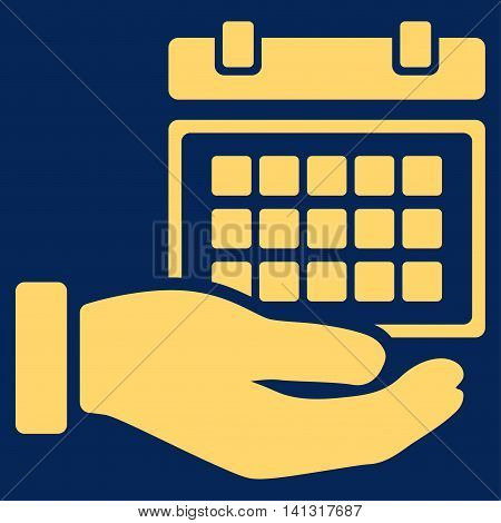 Service Timetable vector icon. Style is flat symbol, yellow color, rounded angles, blue background.