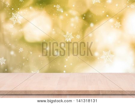 Wood Empty material wooden deck table for christmas with blurred abstract background. for product display montage.
