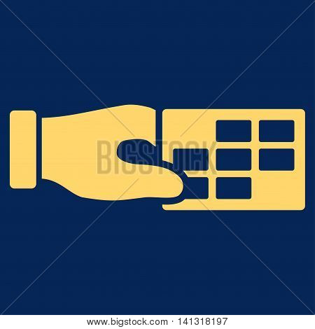 Timetable Properties vector icon. Style is flat symbol, yellow color, rounded angles, blue background.