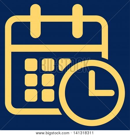 Timetable vector icon. Style is flat symbol, yellow color, rounded angles, blue background.