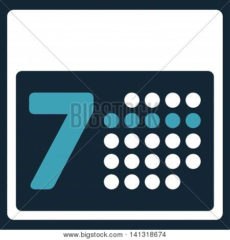 Organizer Week vector icon. Style is bicolor flat symbol, blue and white colors, rounded angles, dark blue background.