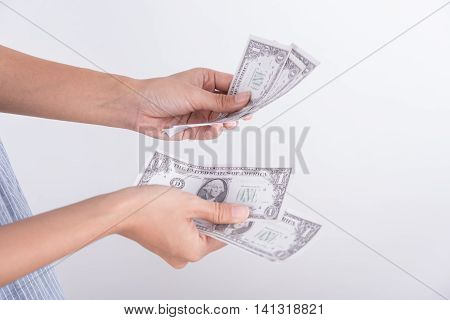 Hands counting dollar bills. business finance concept