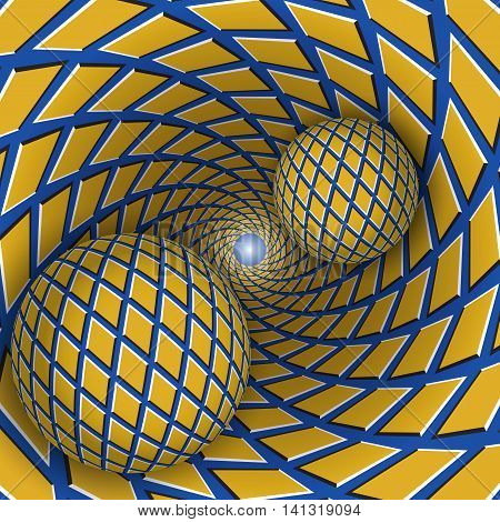 Visual illusion illustration. Two balls are moving on rotating blue funnel with yellow rhombuses. Abstract fantasy in a surreal style.