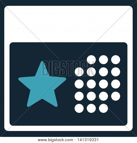 Holiday Organizer vector icon. Style is bicolor flat symbol, blue and white colors, rounded angles, dark blue background.