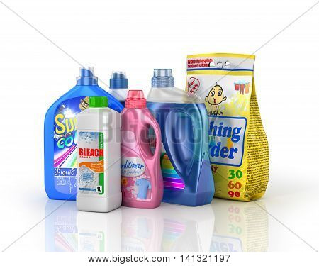 Plastic detergent bottles and washing powder on white background. Cleaning products. 3d illustration