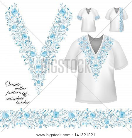 Vector design for collar shirts, blouses, T-shirt. Cute flowers. Colorful embroidery. Seamless border bonus. Blue