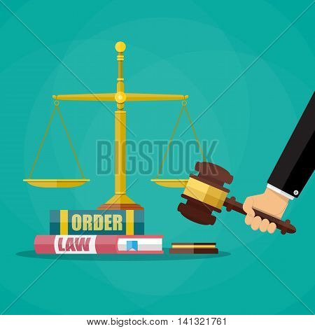 Hand with judge wooden gavel, law and oreder book and golden scales. Justice concept. Vector illustration in flat style on green background