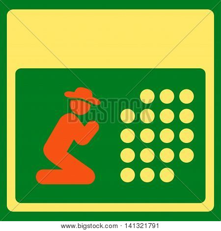 Pray Binder vector icon. Style is bicolor flat symbol, orange and yellow colors, rounded angles, green background.