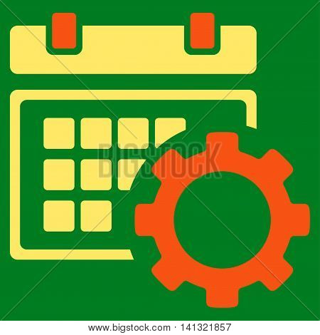 Schedule Preferences vector icon. Style is bicolor flat symbol, orange and yellow colors, rounded angles, green background.