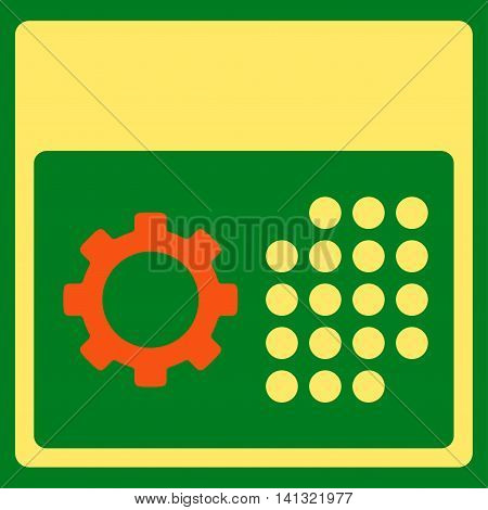 Service Binder vector icon. Style is bicolor flat symbol, orange and yellow colors, rounded angles, green background.
