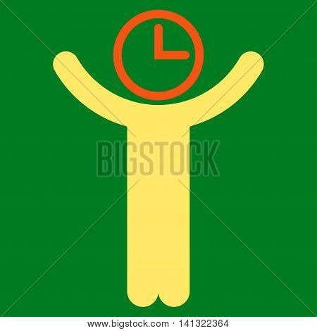 Time Manager vector icon. Style is bicolor flat symbol, orange and yellow colors, rounded angles, green background.