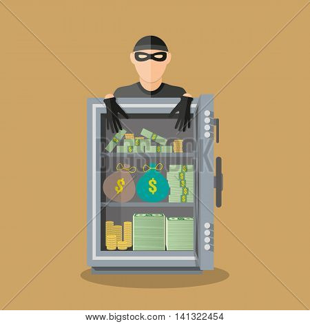 burglar thief in mask on the big opened safe full of gold coins, cash, money bags. Thief stealing money. Vector illustration in flat style on brown background