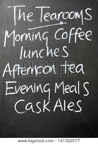 Menu chalkboard for a cafe and pub Burford Cotswolds Oxfordshire England UK Western Europe.