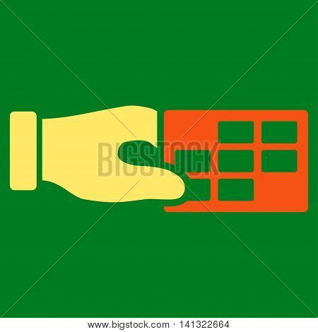 Timetable Properties vector icon. Style is bicolor flat symbol, orange and yellow colors, rounded angles, green background.