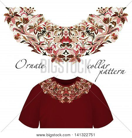 Neck print vector floral design. Fashion white lace collar. Vector illustration. Pink brown