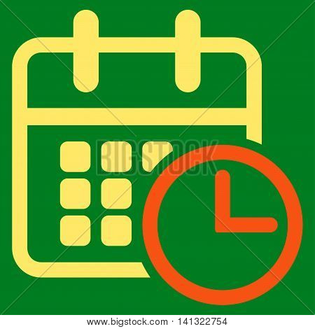 Timetable vector icon. Style is bicolor flat symbol, orange and yellow colors, rounded angles, green background.