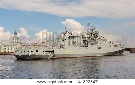 St. Petersburg, Russia - 31 July, Large military ship