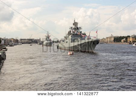 St. Petersburg, Russia - 31 July, Festive parade of warships, 31 July, 2016. Festive parade of warships on the Neva River in St. Petersburg.