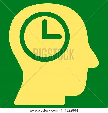 Time Manager vector icon. Style is flat symbol, yellow color, rounded angles, green background.