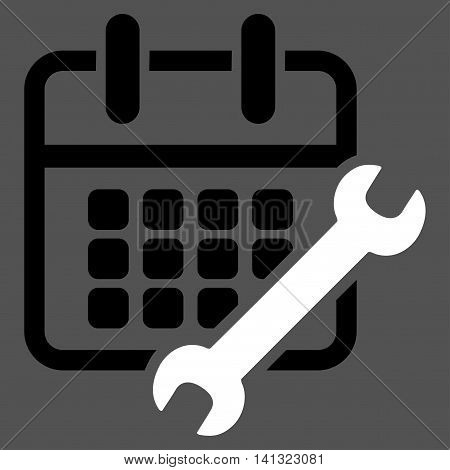 Organizer Configure vector icon. Style is bicolor flat symbol, black and white colors, rounded angles, gray background.
