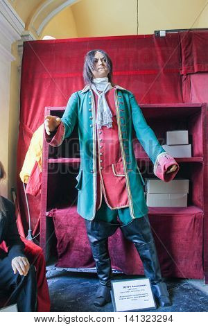 St. Petersburg, Russia - 9 April, The figure of the young Peter the first, 9 April 2016. Wax Museum Gallery large Gostiny Dvor.