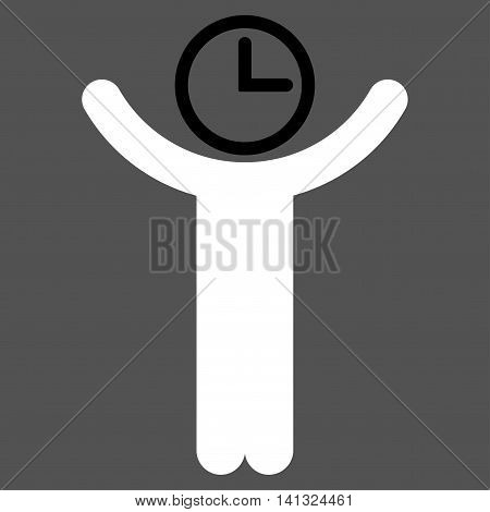 Time Manager vector icon. Style is bicolor flat symbol, black and white colors, rounded angles, gray background.